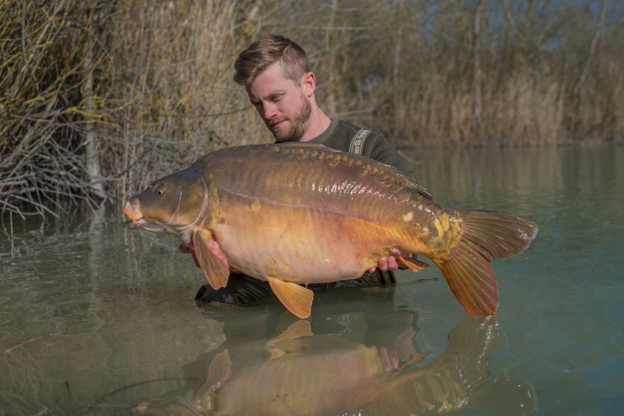 Julien Blot with a 44lb mirror from Bacheliers
